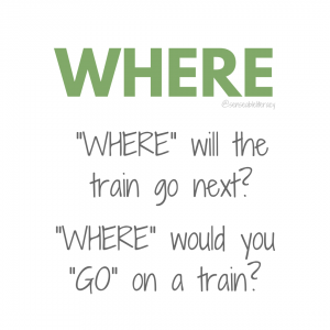 "image stating ""WHERE"", ""WHERE"" will the train go next? and ""WHERE"" would you ""GO"" on a train?"